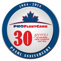 Pro Fleet Care Mobile Rust Control and Rust Proofing 30 Year Anniversary Logo