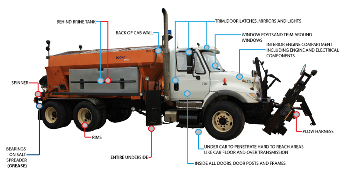 Pro Fleet Care Mobile Rust Control and Rust Proofing Areas of Protection Diagram